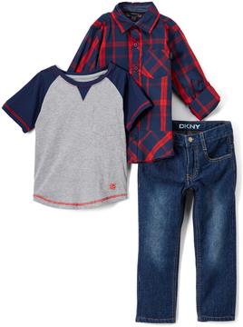 DKNY Dress Blues Galaxy Button-Up Set - Infant, Toddler & Boys