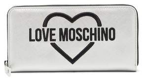 Love Moschino Logo Embroidered Patent Wallet