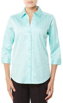 Allison Daley Petites 3/4 Sleeve Vertical Dot Print Button Front Shirt