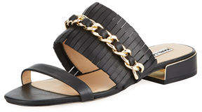 Karl Lagerfeld Paris Athens Two-Band Leather/Chain Slide Sandal