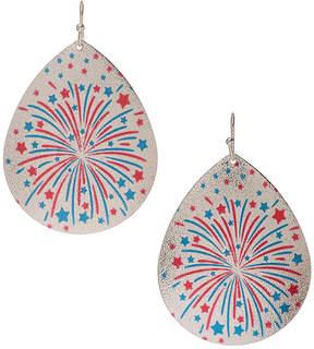 Carole Silvertone Fireworks Oversize Teardrop Earrings