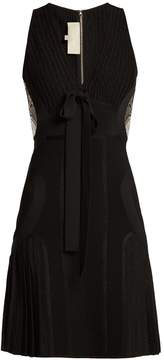 Elie Saab Ribbed-knit pleated mini dress