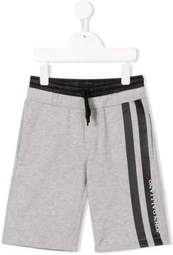 John Galliano logo stripe track shorts