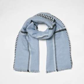 River Island Womens Blue check double-sided scarf