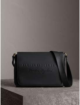 Burberry Medium Embossed Leather Messenger Bag