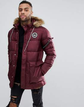 Hype Padded Parka In Burgundy With Faux Fur Hood