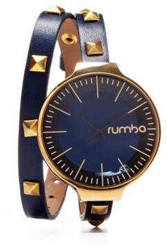 RumbaTime Orchard Studded Navy Double Wrap Strap Watch