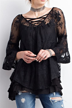 Easel Sheer Lace Top