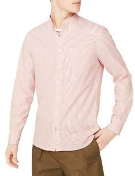 MANGO Cotton Pinstripe Button-Down Shirt