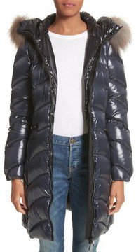 Moncler Women's Albizia Down Puffer Coat With Genuine Fox Fur Trim