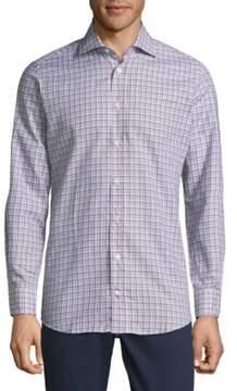 Luciano Barbera Plaid Cotton Button-Down Shirt