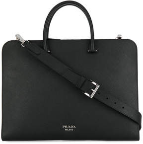 Prada top handle messenger bag