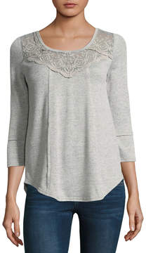 Almost Famous Long Sleeve Scoop Neck Blouse-Juniors