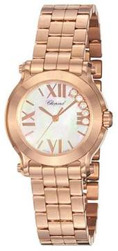 Chopard Happy Sport Mother Of Pearl Dial 18kt Rose Gold Floating Diamond Ladies Watch