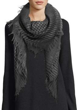 Eileen Fisher Wool-Blend Sparkle Check Square Scarf