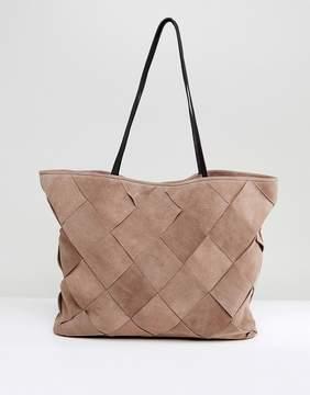 Asos DESIGN Suede Weave Shopper Bag