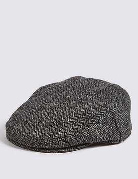Marks and Spencer Pure Wool Herringbone ThinsulateTM Flat Cap with StormwearTM