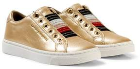 Tommy Hilfiger Gold Metallic and Glitter Slip On Trainers