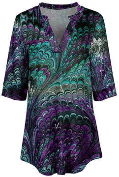Azalea Purple & Turquoise Abstract V-Neck Tunic - Women & Plus