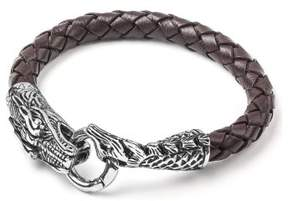 Dragon Optical West Coast Jewelry Crucible Stainless Steel Brown Woven Leather Bracelet (7.5mm) - 8.5