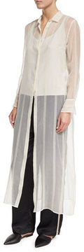 Brunello Cucinelli Striped Sheer Silk Maxi Shirt