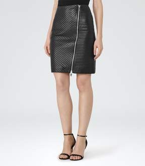 Reiss Azure Quilted Leather Pencil Skirt