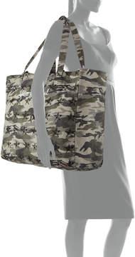 Peace Love World Oversize Star-Print Camo Canvas Shopper Tote Bag