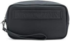 Emporio Armani logo embossed pouch bag