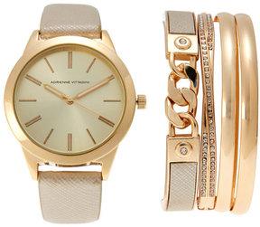 Adrienne Vittadini ADST1751 Gold-Tone Watch & Bracelet Set