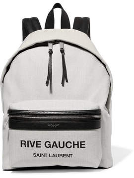 Saint Laurent Mini City Leather-trimmed Printed Canvas Backpack - Beige