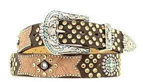 Ariat A1511802-L 1.5 in. Womens Bedecked Crackle Leather Overlay Belt, Brown - Large