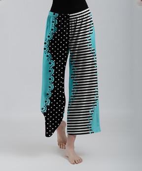 Lily Black & Blue Stripe Polka-Dot Palazzo Crop Pants - Women & Plus