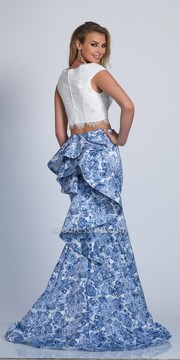 Dave and Johnny Cascading Ruffle Two Piece Embellished Prom Dress