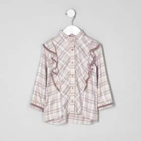 River Island Mini girls pink check frill high neck shirt