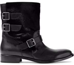 Belstaff Beddington Paneled Calf Hair And Leather Ankle Boots