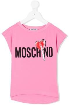 Moschino Kids logo and heart lollipop T-shirt