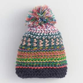 World Market Blue Multicolor Chunky Knit Pom Hat