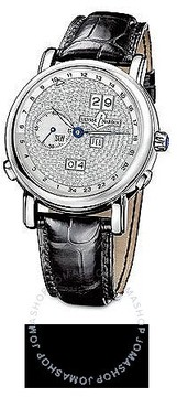 Ulysse Nardin GMT Perpetual Diamond Pave Dial Leather Strap Automatic Men's Watch