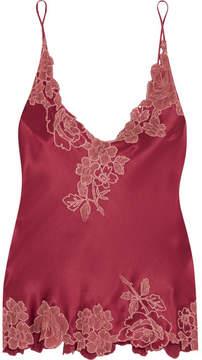 Carine Gilson Chantilly Lace-trimmed Silk-satin Camisole - Burgundy