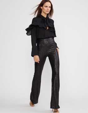 Cynthia Rowley Black Sequin Flared Pants