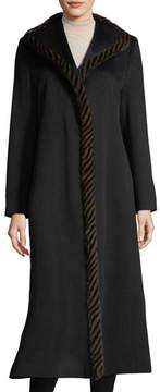 Fleurette Magnetic Wool Duster Coat w/ Spiral Mink Fur