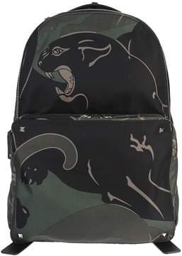 Valentino Panther Printed Bleck Ang Green Nylon Backpack