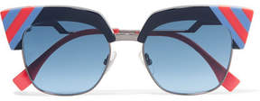 Fendi Striped Cat-eye Acetate And Gunmetal-tone Sunglasses - Blue