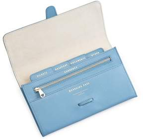 Aspinal of London Classic Travel Wallet In Bluebird Saffiano