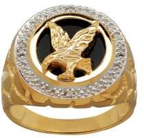 Lord & Taylor Onyx, Diamond and Cubic Zirconia Eagle Ring