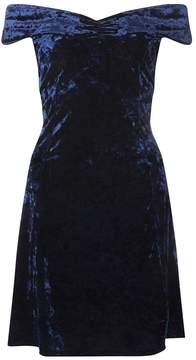Dorothy Perkins Blue Velvet Bardot Skater Dress
