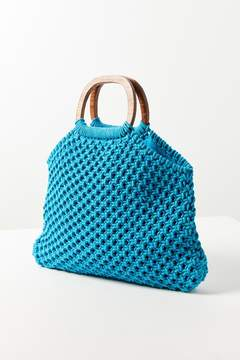 Urban Outfitters Small Wood Handle Macrame Tote Bag
