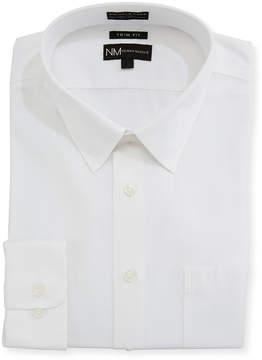 Neiman Marcus Trim-Fit Non-Iron Dobby Dress Shirt, White