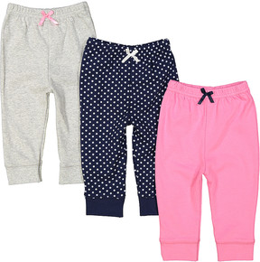 Luvable Friends Pink & Navy Three-Piece Jogger Set - Infant