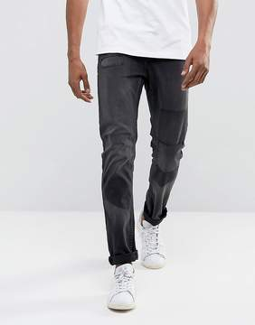 ONLY & SONS Slim Fit Jeans in Distressed Knee Patch Denim